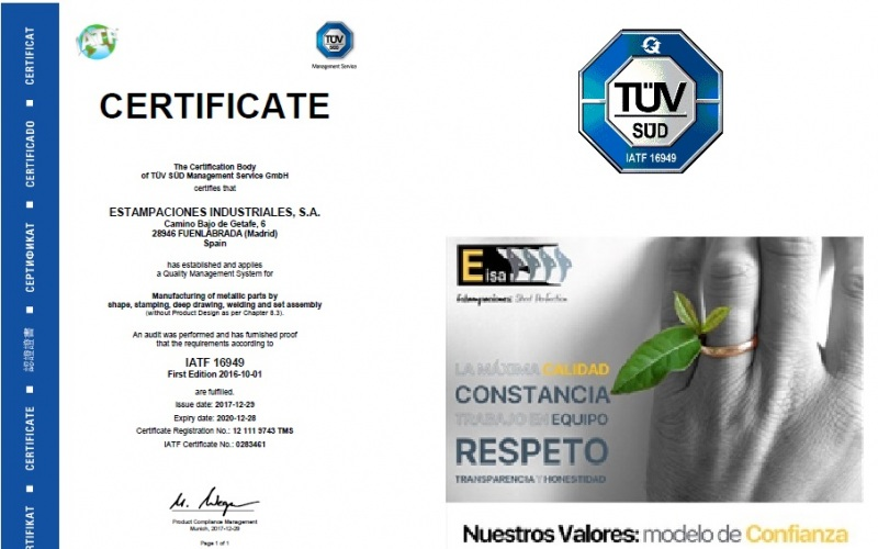 THE EARLY BIRD CATCHES THE SUN: EISA – ESTAMPACIONES INDUSTRIALES, S.A. – HAS BEEN OF THE FIRST COMPANIES IN SPAIN IN CERTIFYING IATF 16949
